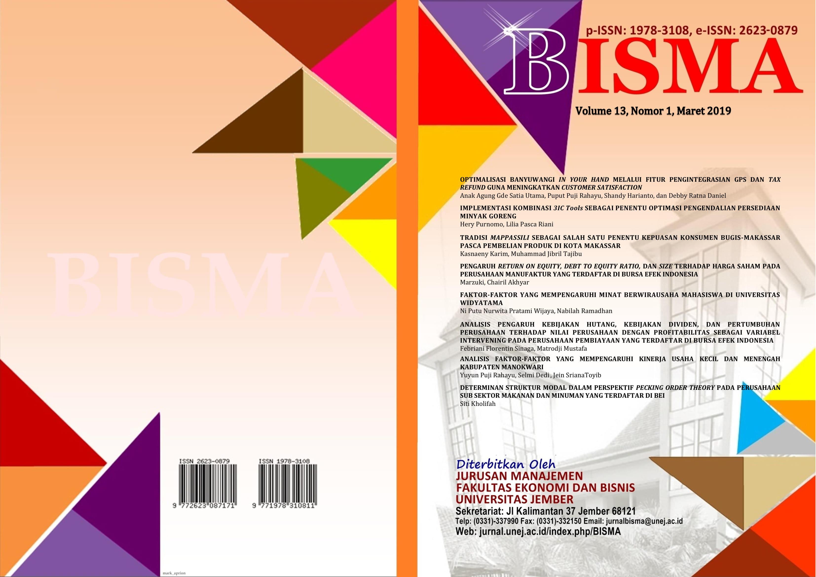 Analisis Faktor Faktor Yang Mempengaruhi Kinerja Usaha Kecil Dan Menengah Kabupaten Manokwari Bisma Jurnal Bisnis Dan Manajemen